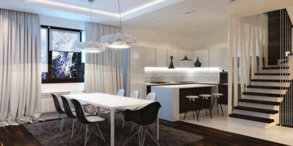 Desain Ruang Makan Nuansa Putih Stylish Dengan Lampu Gantung Mewah